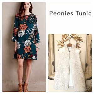 {Anthropologie} Maeve Sketched Peonies Tunic